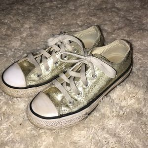 Converse Girls Gold Metallic Shoes Size 12